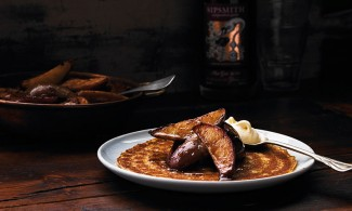 Griddled pear pancakes with sloe gin