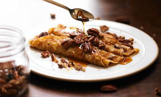 Maple syrup and pecans