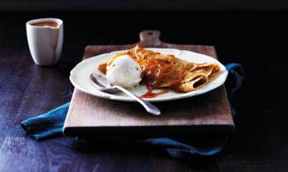 Stunning sticky toffee pudding pancake